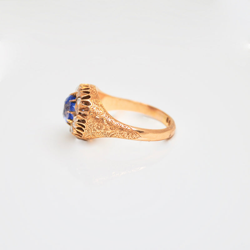 Edwardian Sapphire & Diamond cluster 18ct Gold Ring c.1910