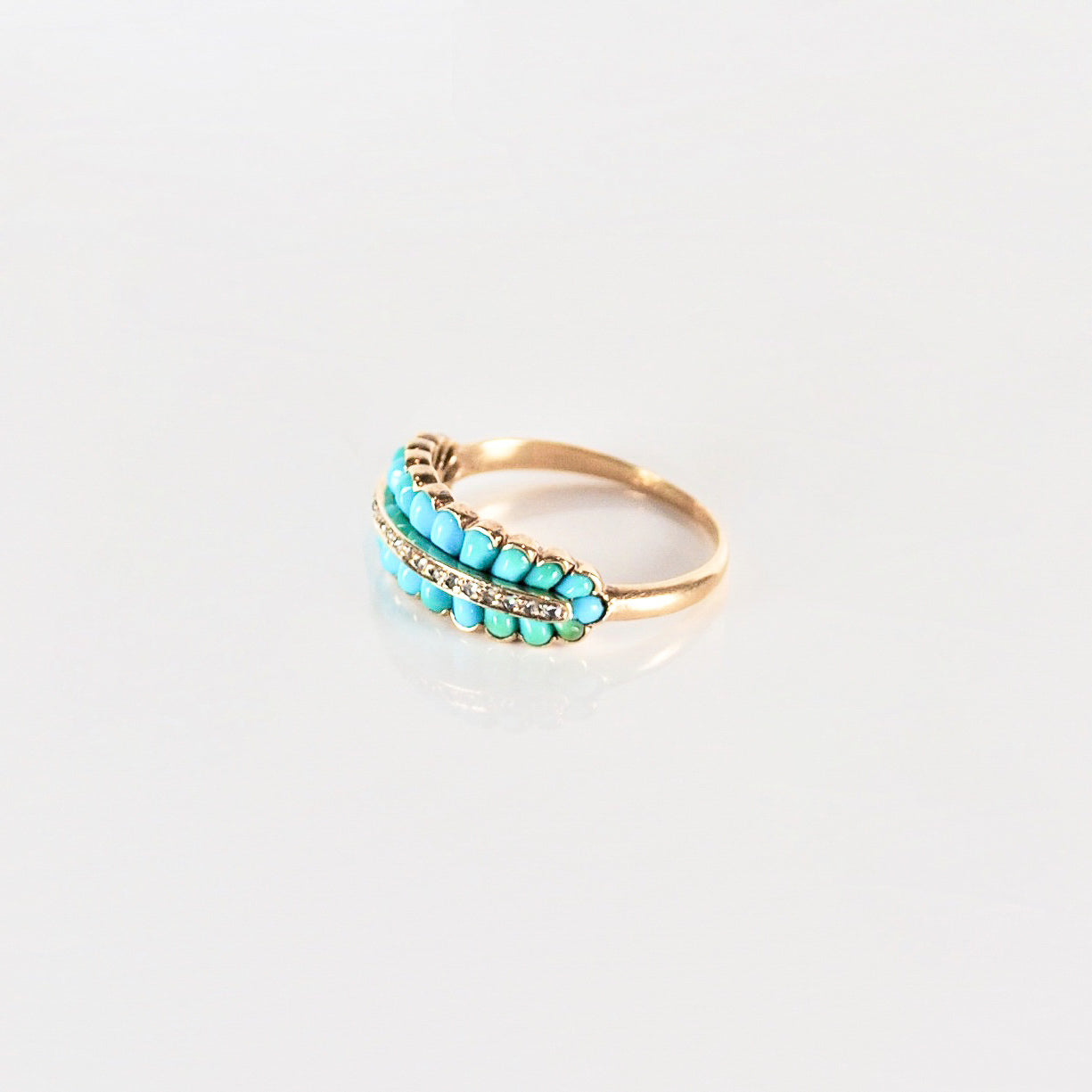Two row Turquoise 18ct Gold ring inset with tiny diamonds c.1920s