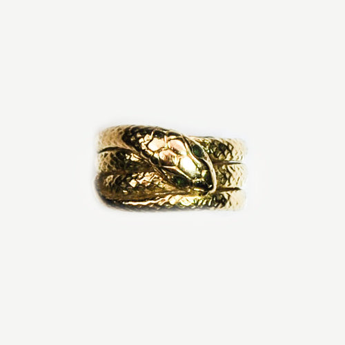 Unique 18ct Gold Snake coiled ring with Emerald eyes **SOLD**