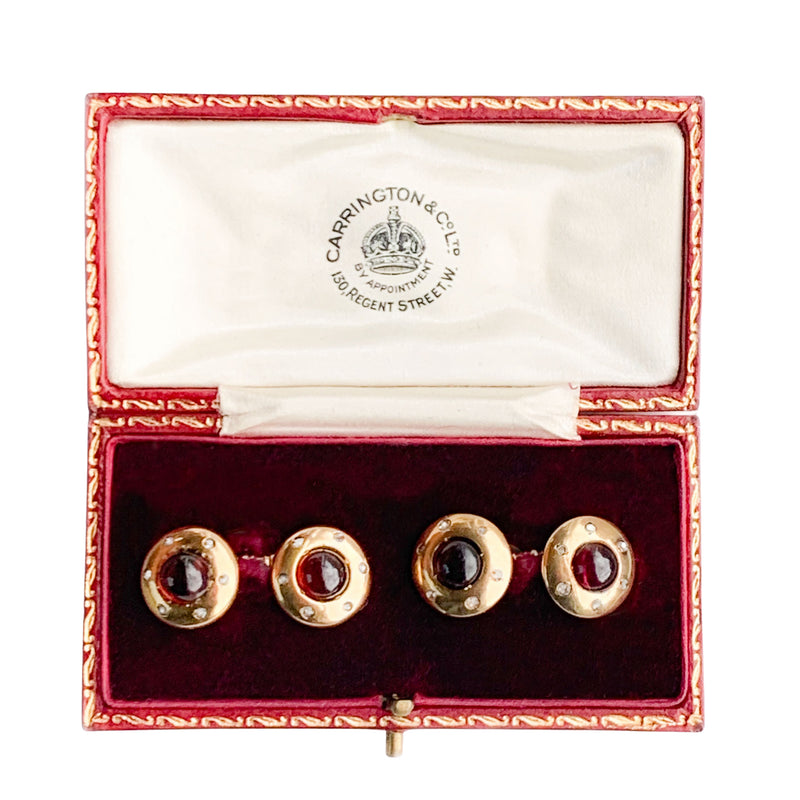 Edwardian 18ct Gold Garnet Cufflinks