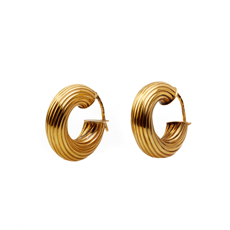 A 1950s Pair of Italian Gold Hoop Earrings