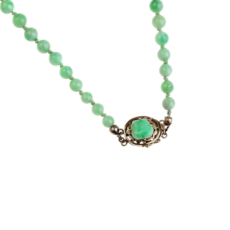 A Jade Necklace with 18ct Gold Clasp