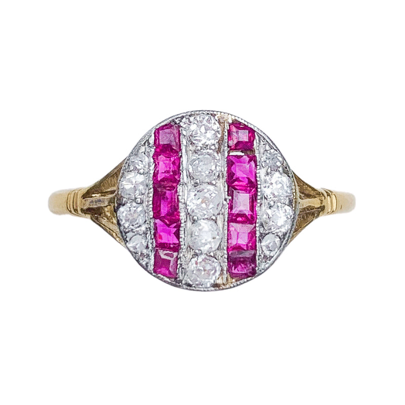 An Art Deco Ruby and Diamond Stripe Ring
