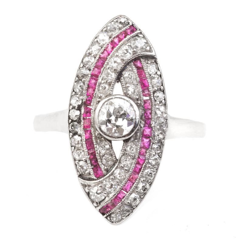 An Art Deco Diamond and Ruby Marquise Ring