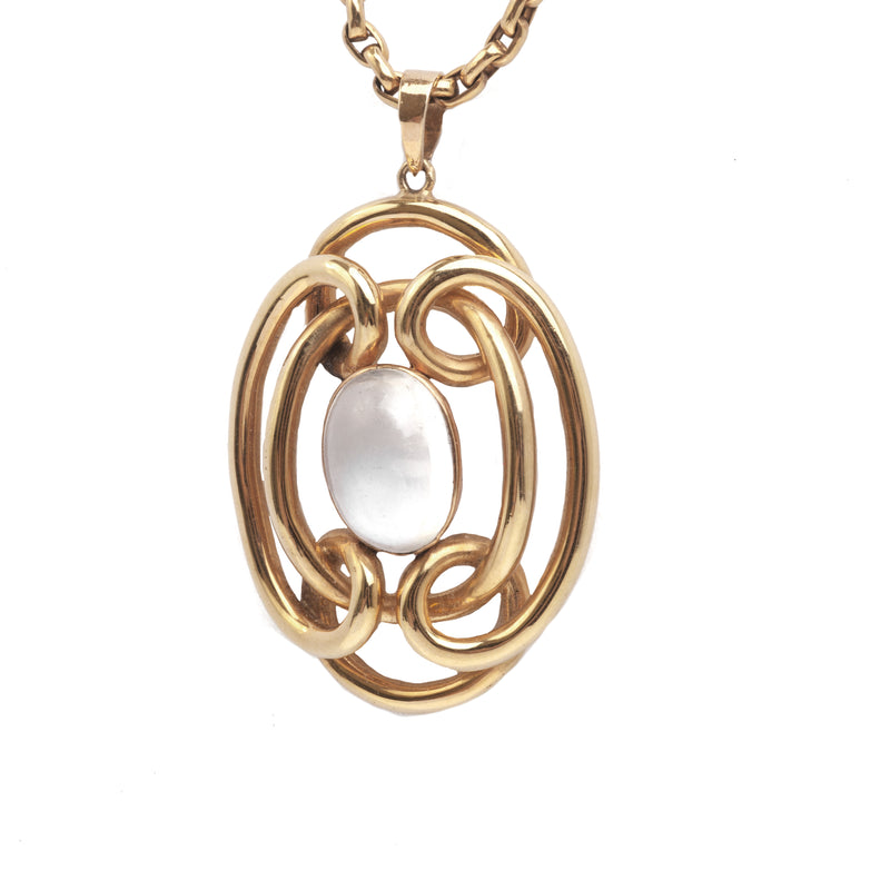 A Moonstone Pendant Necklace