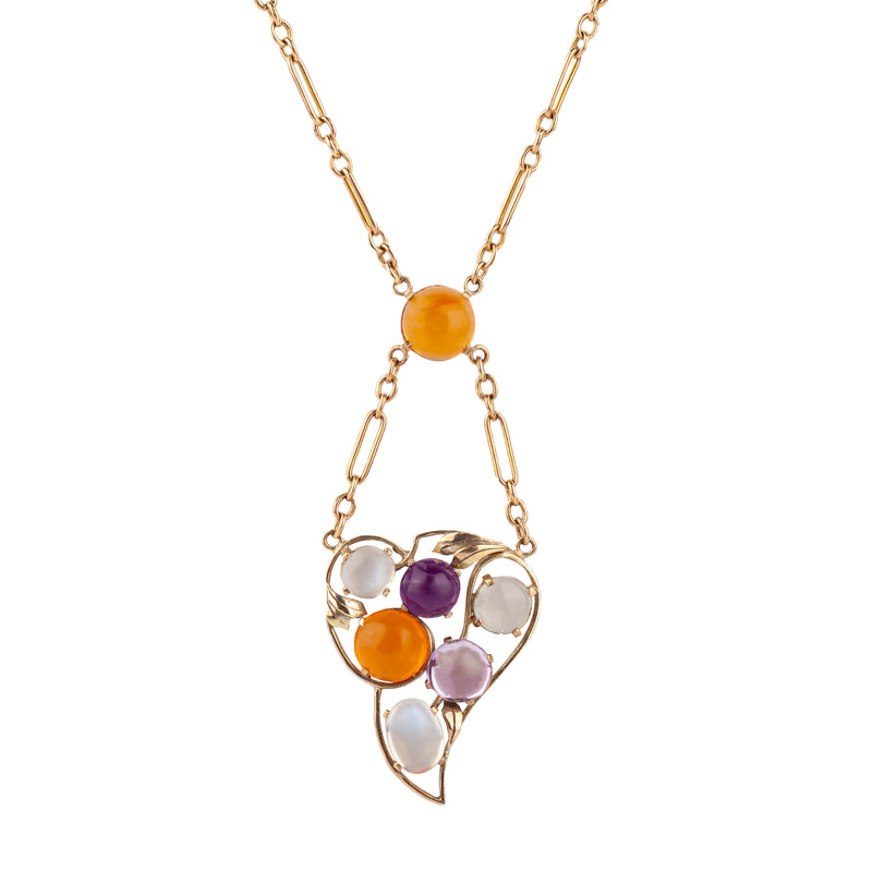 A 1940s Fire Opal, Amethyst and Moonstone Gold Guard Chain necklace