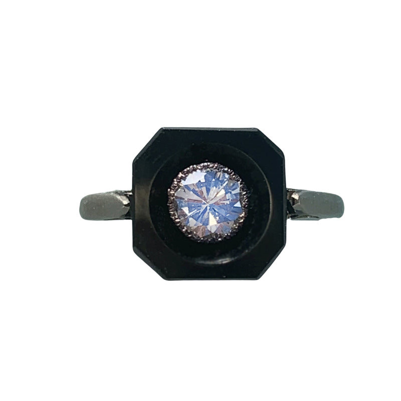 Art Deco Onyx & Diamond 18ct Gold Ring, c. 1920s
