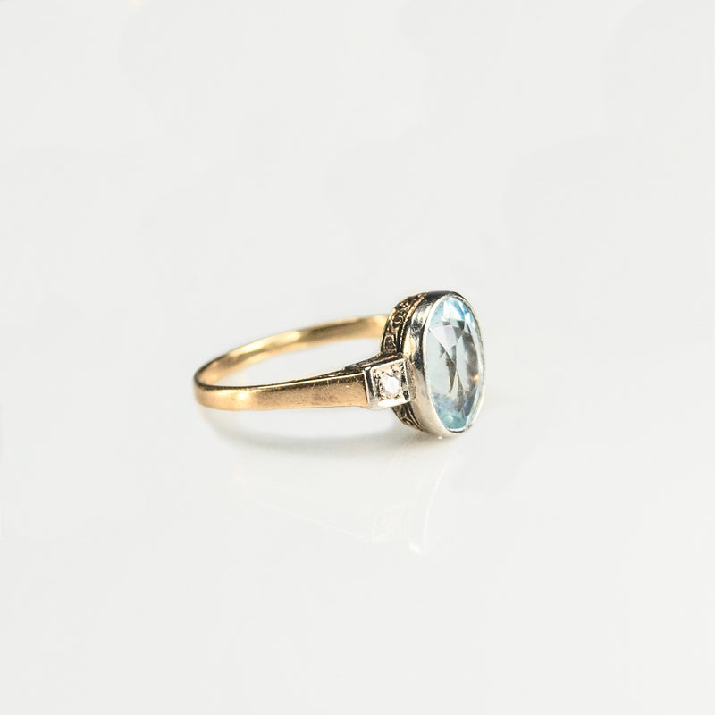 Art Deco Aquamarine 14ct Gold ring