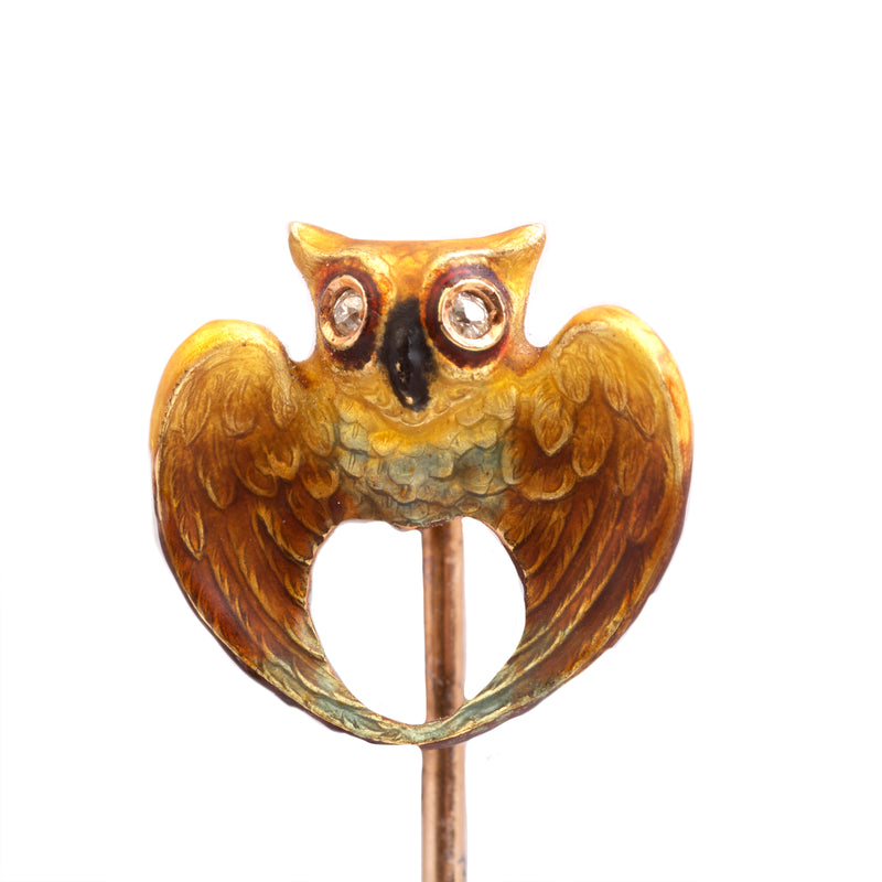 A Gold Owl Tie Pin with Diamond Eyes