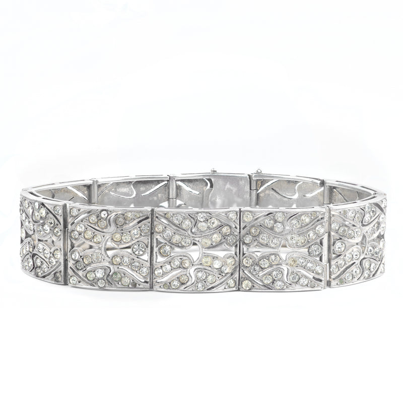An Art Deco Silver and Paste Bracelet