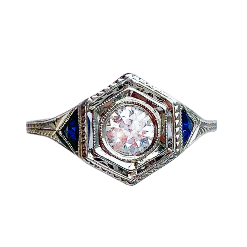 Hexagonal Art Deco Diamond & Sapphire Ring