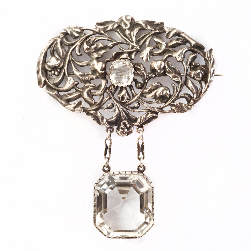 A Silver and Rock Crystal Brooch