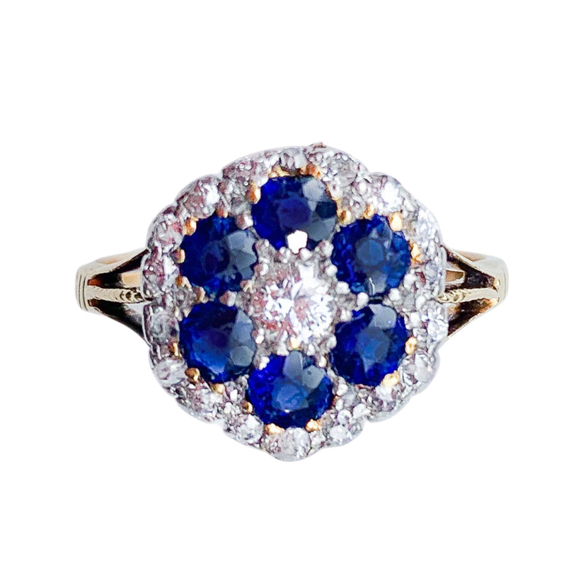Sapphire & Diamond 18ct Gold Cluster Ring c.1930s