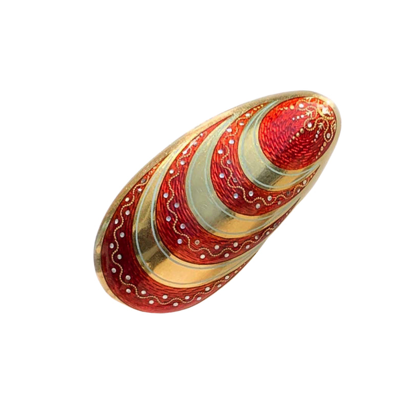 18ct Gold, Red & White Enamel Vinaigrette c.1970s