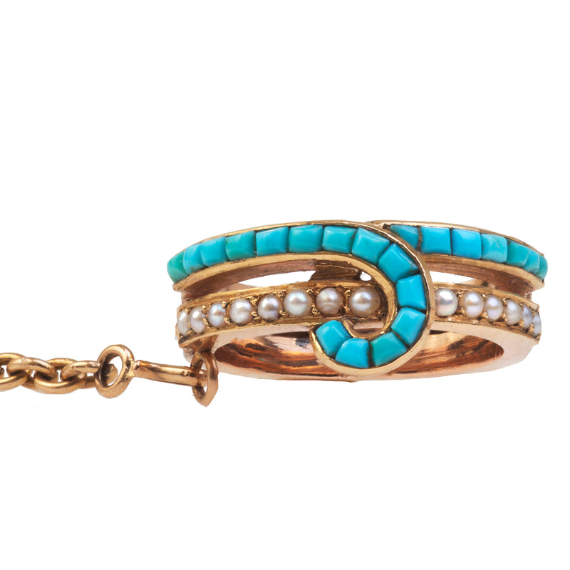 A French Turquoise and Pearl Gold Bracelet and Ring