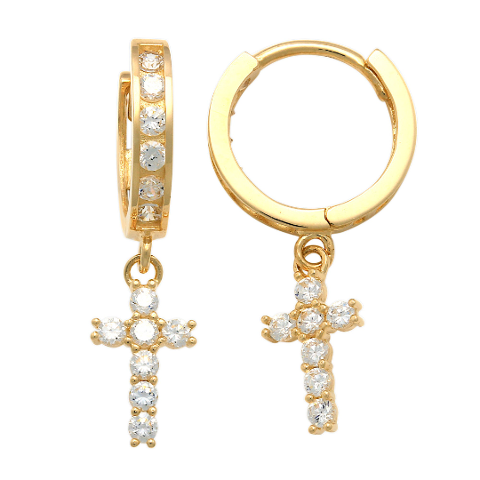 14K Solid Gold Cubic Zirconia Cross Drop Earrings