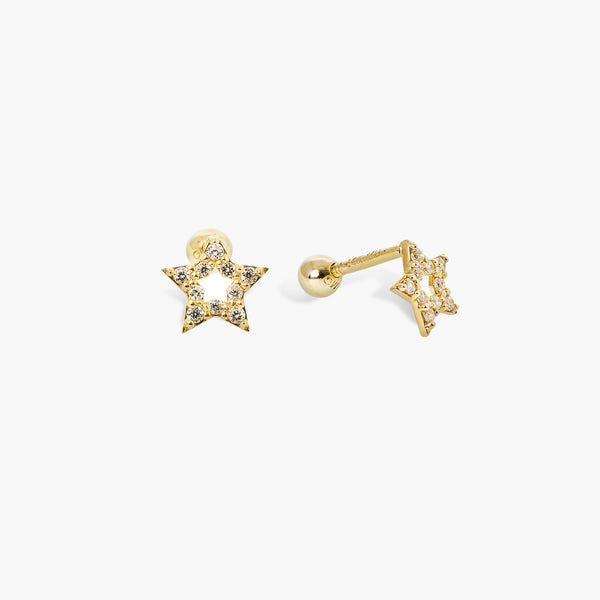 14K Solid Gold Star CZ Tragus Ear Piercing 18gauge