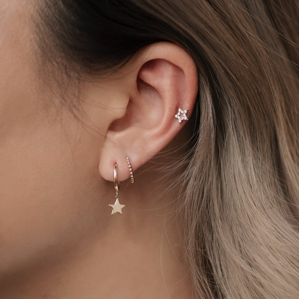 14K Solid Gold Star Drop Huggie Earrings