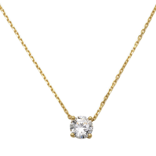 14K Solid Gold 5mm Solitaire Cubic Zirconia Necklace