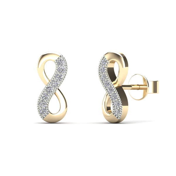14K Solid Gold 0.06ctw Diamond Mini Infinity Stud Earrings
