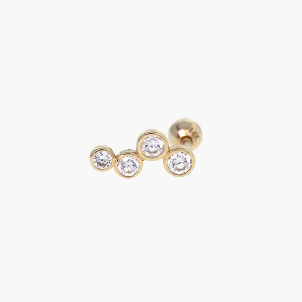 14K Solid Gold Four CZ Tragus 18 Gauge
