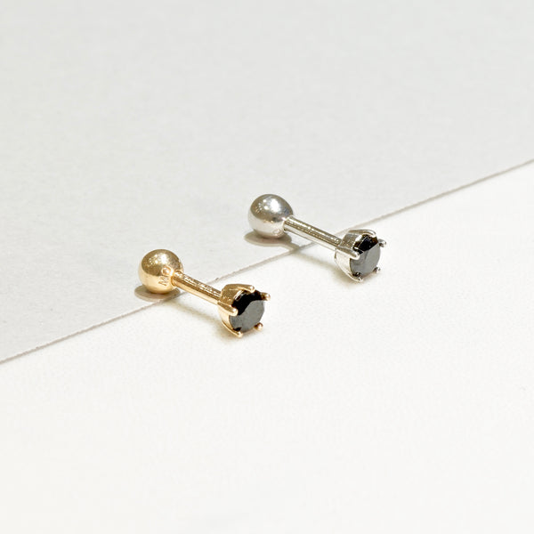 14K Solid Gold Black CZ Tragus 18 Gauge
