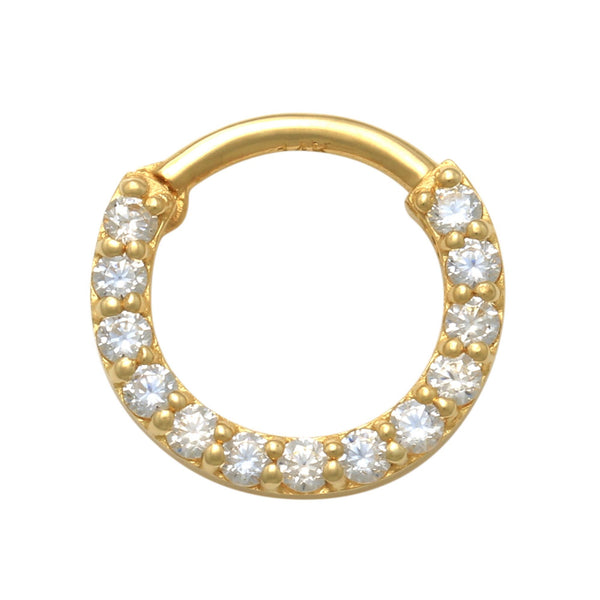 14K Solid Gold Cubic Zirconia Septum Clicker Hoop Ring Piercing 18gauge