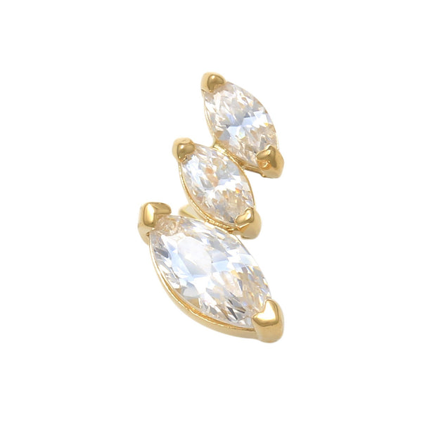 14K Solid Gold Marquise Cubic Zirconia Tragus Ear Piercing 18gauge