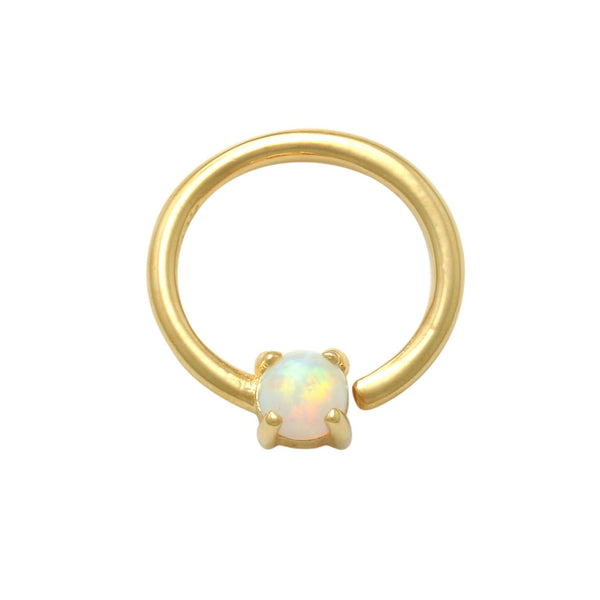 14K Solid Gold 3mm Solitaire Opal Continuous Ring Ear & Nose Piercing 18gauge