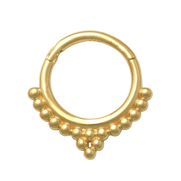 14K Solid Gold Beaded Ear & Nose Hoop Ring Piercing 18gauge