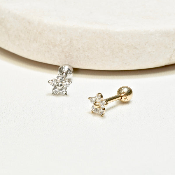 14K Solid Gold Baby Flower CZ Tragus 18 Gauge