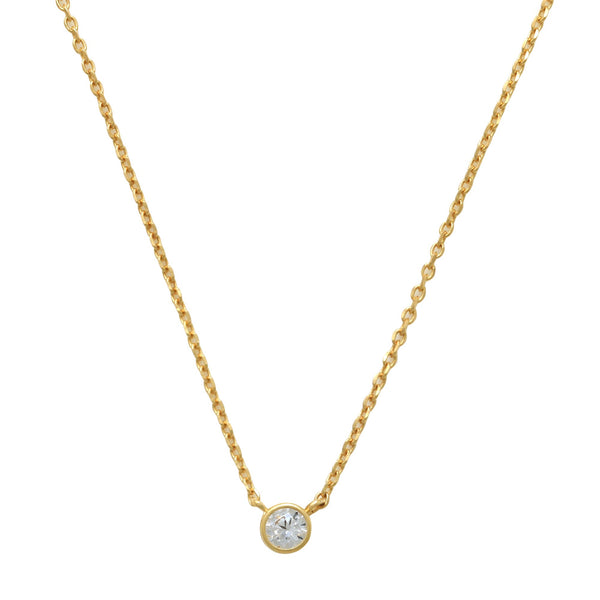 14K Solid Gold Solitaire Round CZ Necklace