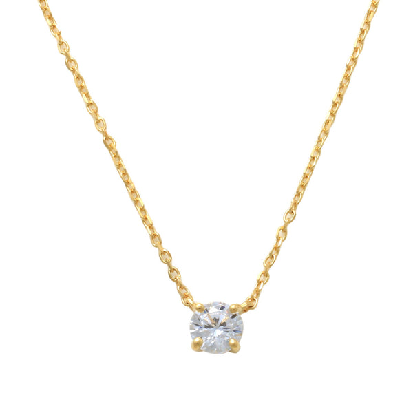 14K Solid Gold 4mm Solitaire Cubic Zirconia Necklace