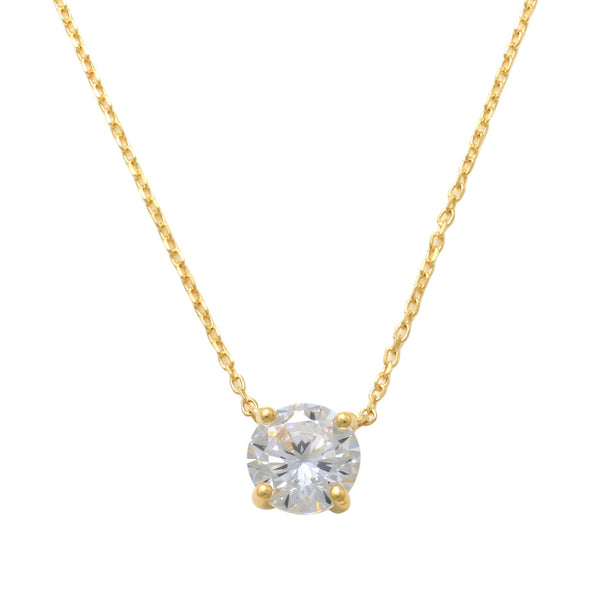 14K Solid Gold 6mm Solitaire Cubic Zirconia Necklace