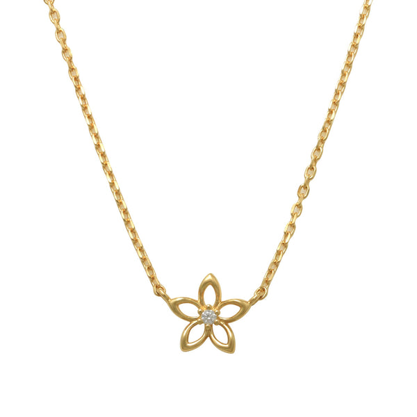 14K Solid Gold Single CZ Flower Necklace