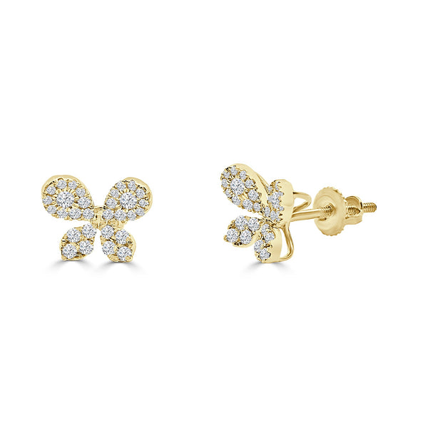 14K Solid Gold 0.41ctw Diamond Butterfly Stud Earrings