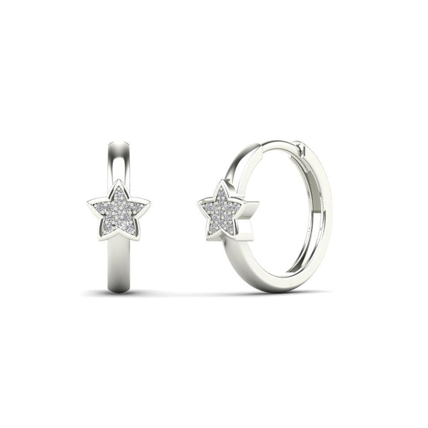 14K Solid Gold 0.06ctw Diamond Star Hoop Earrings