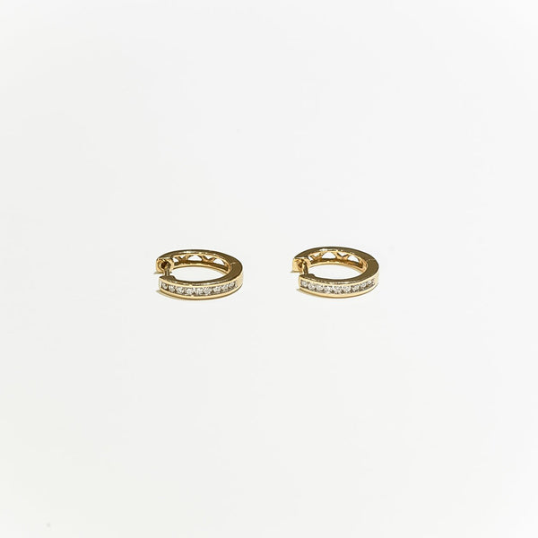 14K Solid Gold 0.16ctw Diamond Hoop Earrings