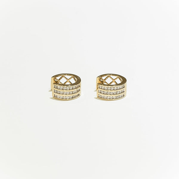 14K Solid Gold 0.55ctw Diamond Hoop Earrings