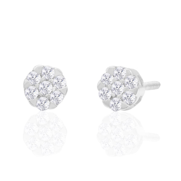 14K Solid Gold 0.15ctw Diamond Stud Earrings
