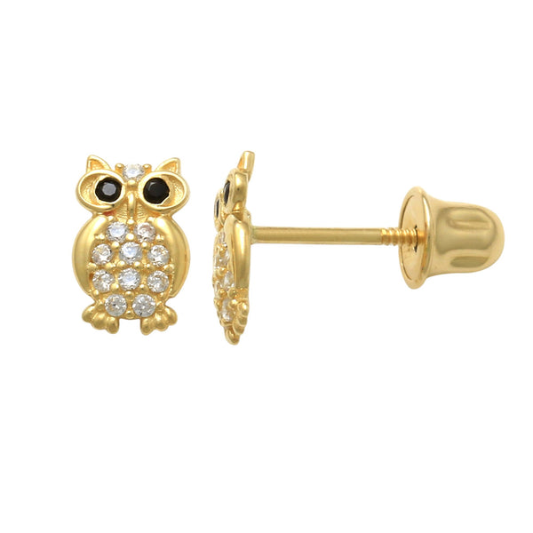 14K Solid Gold Black CZ Owl Screw-back Baby Earrings