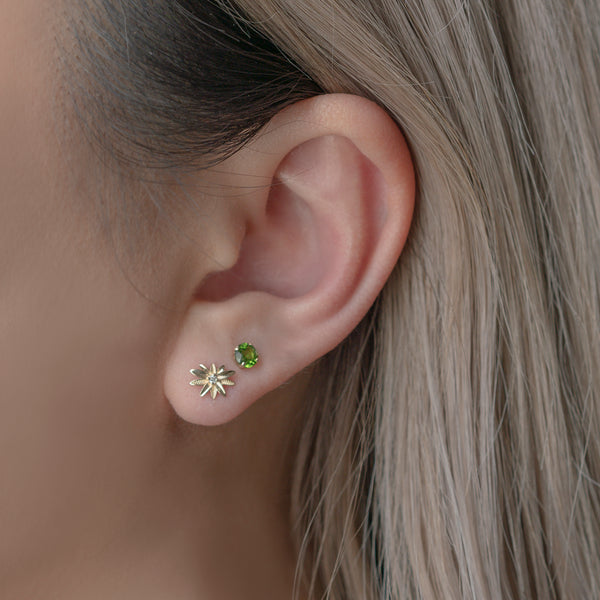 14K Solid Gold Cubic Zirconia Flower Stud Earrings
