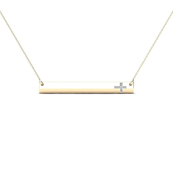14K Solid Gold 0.03ctw Diamond Cross Bar Necklace