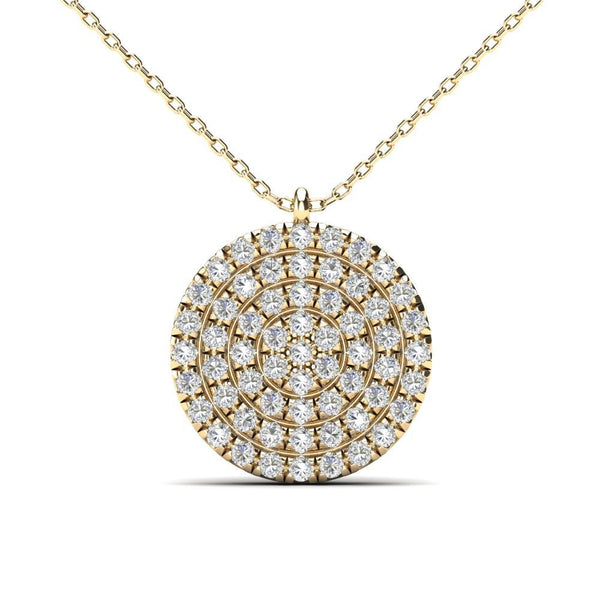 14K Solid Gold 0.18ctw Diamond Iced Out Round Micropavé Necklace