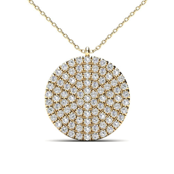 14K Solid Gold 0.27ctw Diamond Iced Out Round Micropavé Necklace