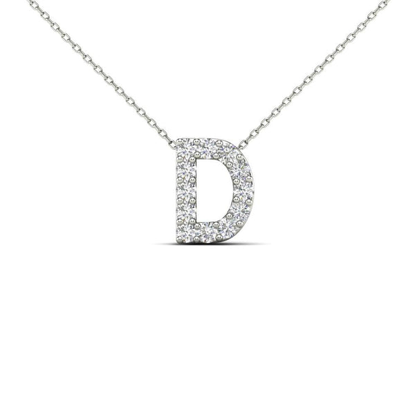 14K Solid Gold 0.12ctw Diamond Initial