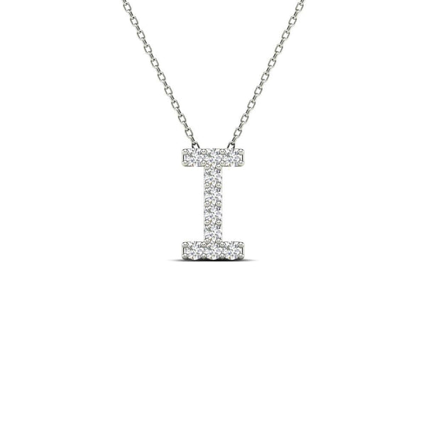 14K Solid Gold 0.10ctw Diamond Initial