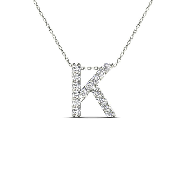 14K Solid Gold 0.15ctw Diamond Initial