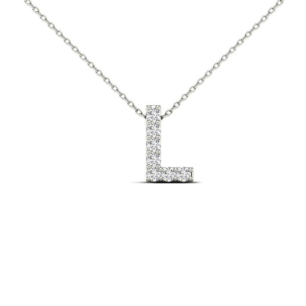 14K Solid Gold 0.07ctw Diamond Initial