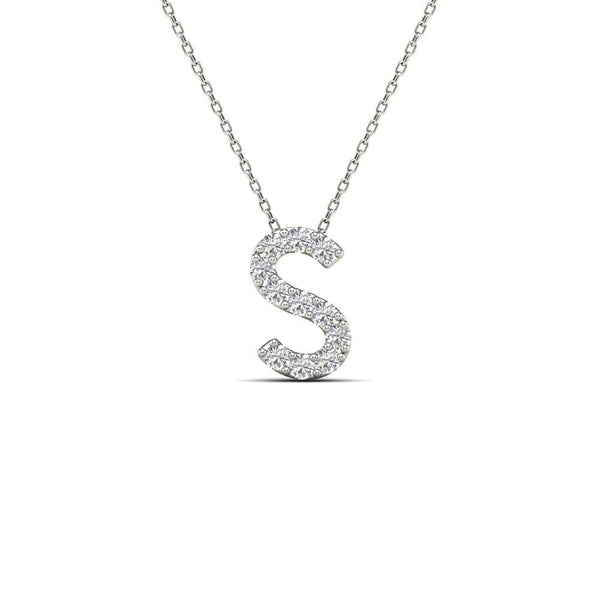 14K Solid Gold 0.11ctw Diamond Initial